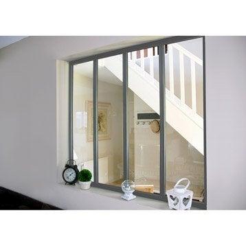 Verrière d'intérieur atelier en kit aluminium gris 4 vitrages, H.1.08 x l.1.23 m