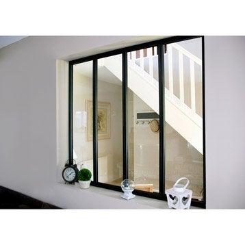 Verrière d'intérieur atelier en kit aluminium noir 4 vitrages, H.1.08 x l.1.23 m