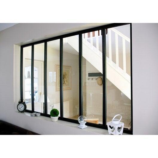 Verri re d 39 int rieur atelier en kit aluminium noir 6 for Acheter verriere interieure