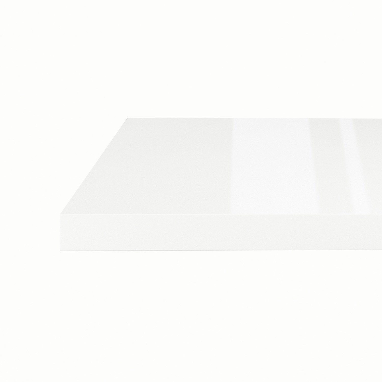 Plan snack stratifié Blanc Brillant L.200 x P.40 cm, Ep.38 mm ...