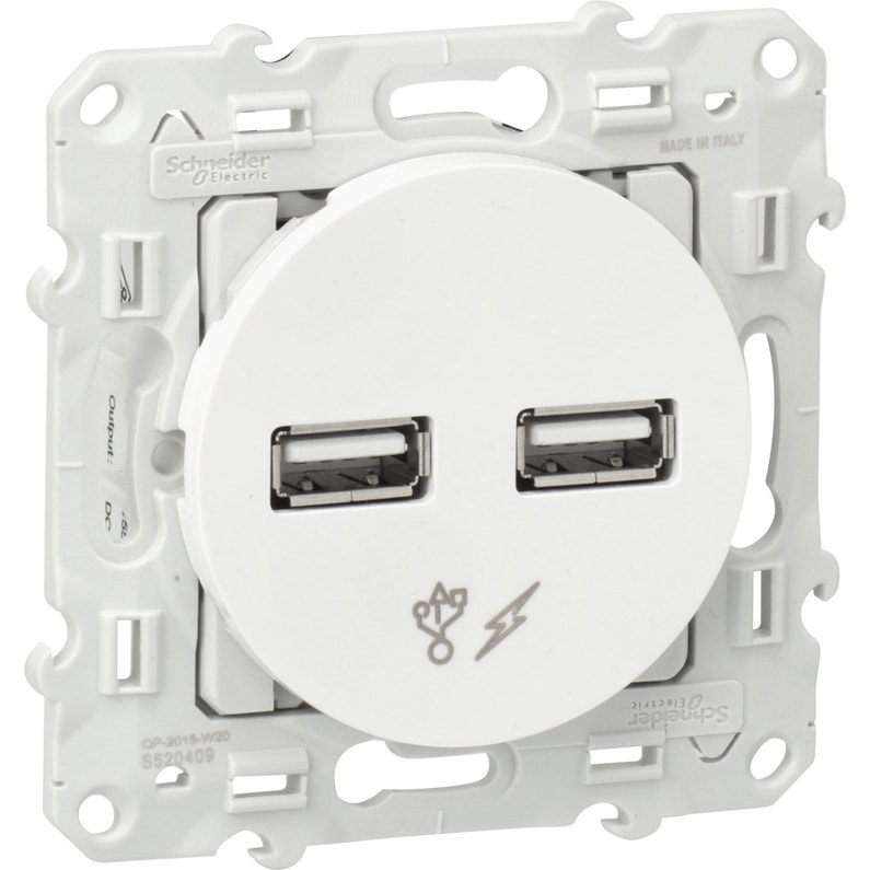 Prise Chargeur Double Usb Odace Schneider Electric Blanc