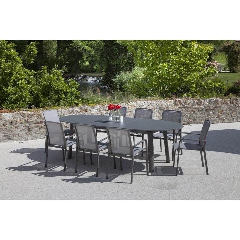 Table de jardin Capucine ovale gris 10 personnes | Leroy Merlin