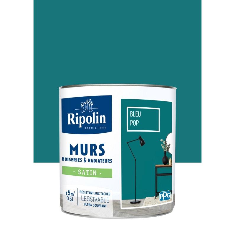 Peinture Bleu Pop Satin Ripolin Murs Et Boiseries 0 5 L Leroy Merlin