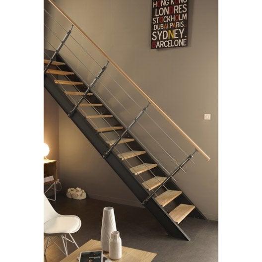Escalier droit lisa structure m tal marche bois leroy merlin - Escalier droit metal ...