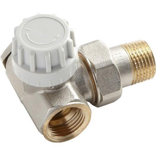 robinet thermostatique equerre inversée 1/2 mâle / femelle laiton ... - Robinet Thermostatique Seche Serviette