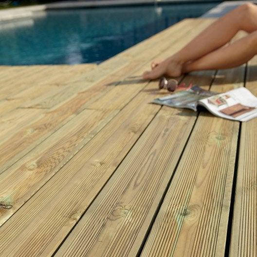 Planche bois kuhmo verte x cm x mm leroy merlin - Lame de terrasse bois classe 4 leroy merlin ...