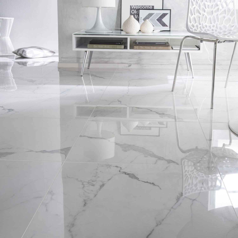 Carrelage sol et mur blanc effet marbre Rimini l.60 x L.60 cm | Leroy Merlin