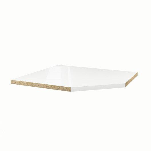 Plan d\'angle stratifié Blanc Brillant L.105 x P.105 cm, Ep.38 mm ...