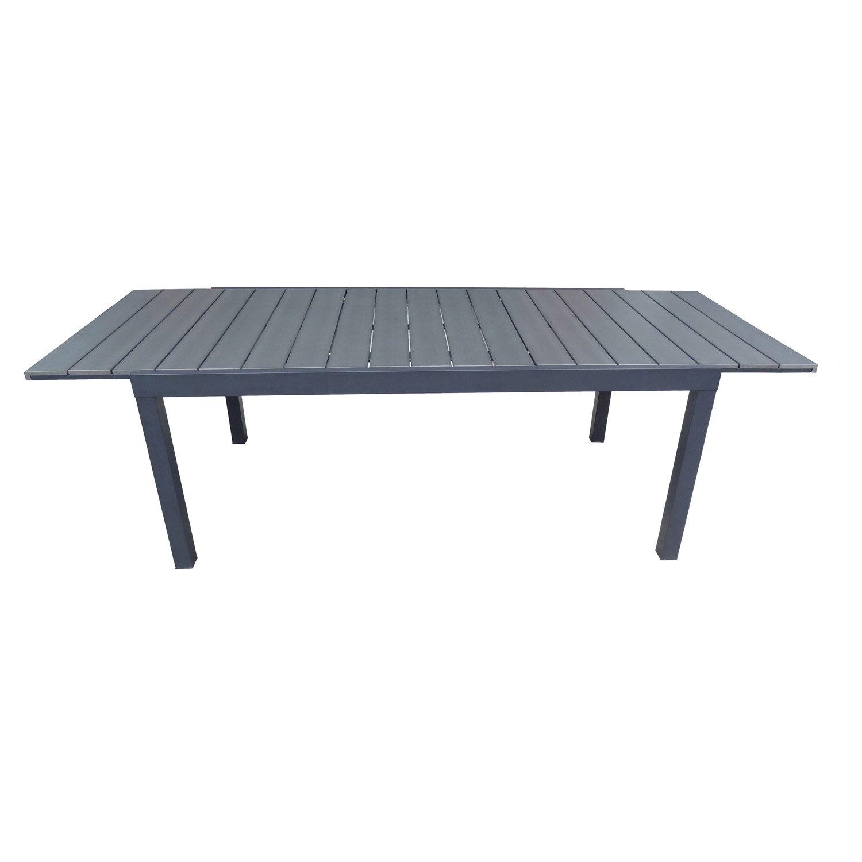 Table de jardin naterial pratt rectangulaire gris 6 personnes leroy merlin for Table jardin rectangulaire