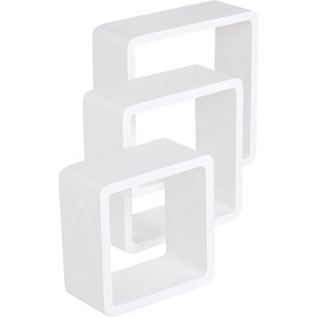 Cube blanc super brillant blanc-blanc n°0 SPACEO, L.28 x P.28 cm Ep.15 mm