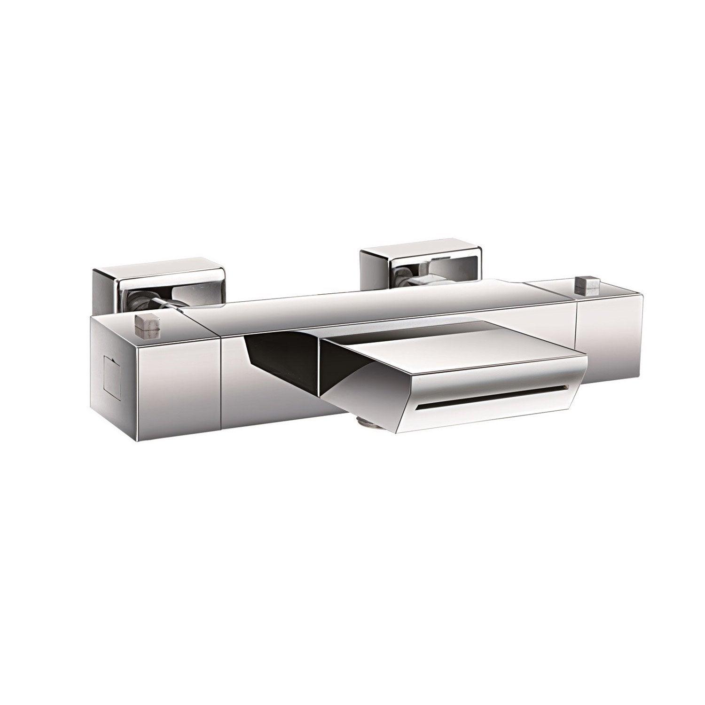 mitigeur thermostatique de baignoire cascade chrom encarr leroy merlin. Black Bedroom Furniture Sets. Home Design Ideas