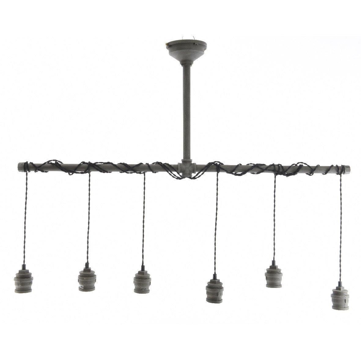 suspension e27 style industriel tuyau m tal noir 6 x 40 w leroy merlin. Black Bedroom Furniture Sets. Home Design Ideas