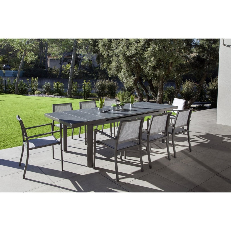 table de jardin myosotis rectangulaire gris 8 personnes   leroy merlin