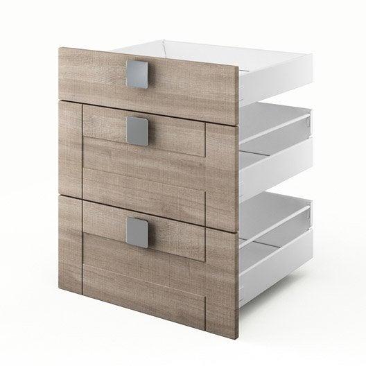 3 tiroirs de cuisine d cor ch ne blanchi 3d60 karrey l60 x h70 x p55 cm leroy merlin. Black Bedroom Furniture Sets. Home Design Ideas