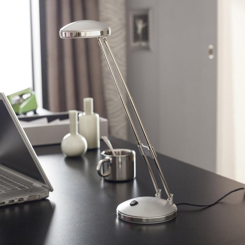 Lampe De Bureau Led Intégrée à Poser Gris Argent Led Flip Inspire
