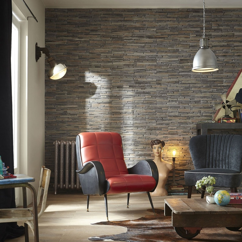 Plaquette de parement pl tre gris ocre idaho leroy merlin - Mur parement salon ...