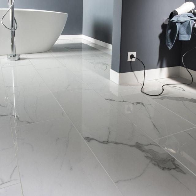 Carrelage Sol Et Mur Blanc Effet Marbre Rimini L30 X L60 Cm