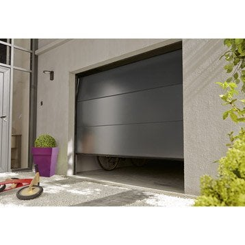 Porte de garage sectionnelle motorisée ARTENS essentiel H.212 x l.300 cm