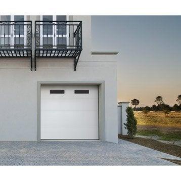 Porte de garage sectionnelle motorisée ARTENS essentiel 200 x 240 cm avec hublot