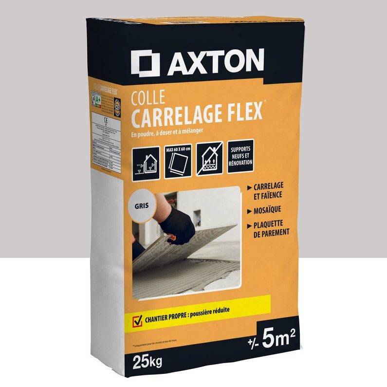 Mortier Colle Poudre Axton Flex Gris 25 Kg 5 M²