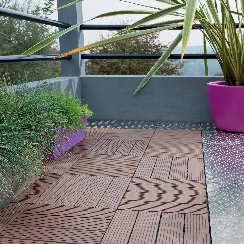 dalle clipsable composite brun x cm x mm leroy merlin. Black Bedroom Furniture Sets. Home Design Ideas
