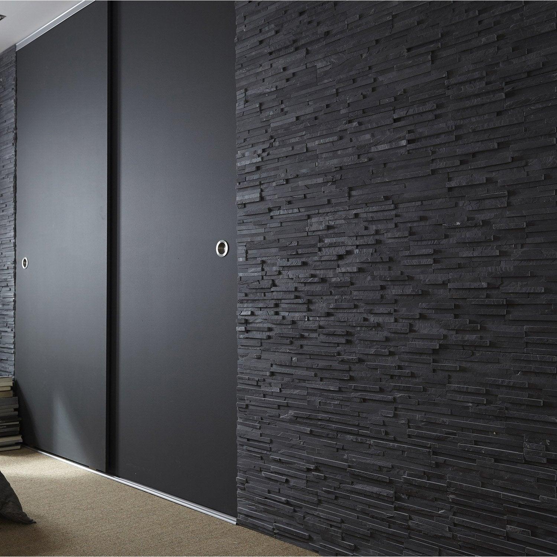 plaquette de parement pierre naturelle noir logos leroy merlin. Black Bedroom Furniture Sets. Home Design Ideas