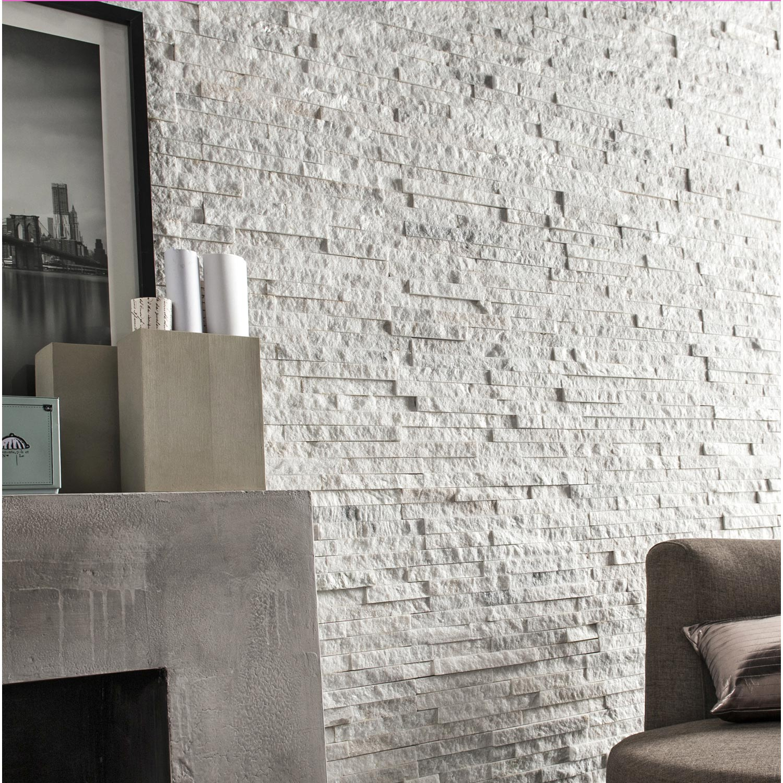 plaquette de parement pierre naturelle blanc ultra leroy. Black Bedroom Furniture Sets. Home Design Ideas