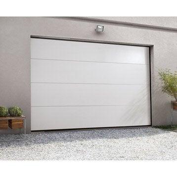 Porte de garage sectionnelle motorisée ARTENS essentiel H.212 x l.240 cm