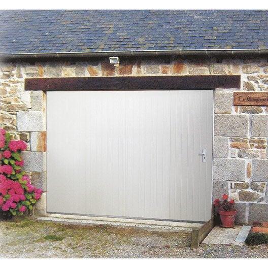Porte de garage coulissante manuelle artens x cm avec hublot le - Porte de garage pas chere ...
