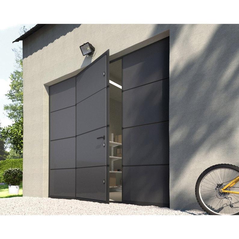 Porte De Garage Sectionnelle Motorisée Artens Essentiel 200x240cm Avec Portillon