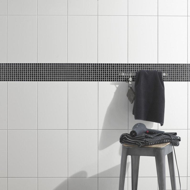 Fa ence mur blanc blanc brillant x cm leroy - Faience salle de bain blanche ...
