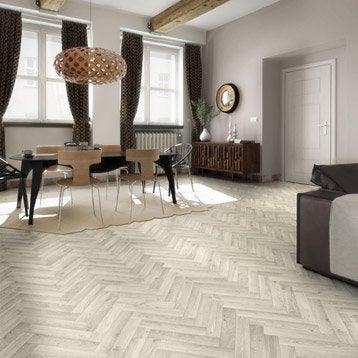 Sol PVC bois blanchi cameo chevron blanchi, ARTENS Textile l.4 m