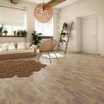 Sol PVC chêne natural water oak naturel, ARTENS Textile l.4 m
