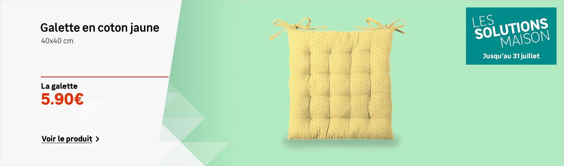 Galette de chaise coton jaune