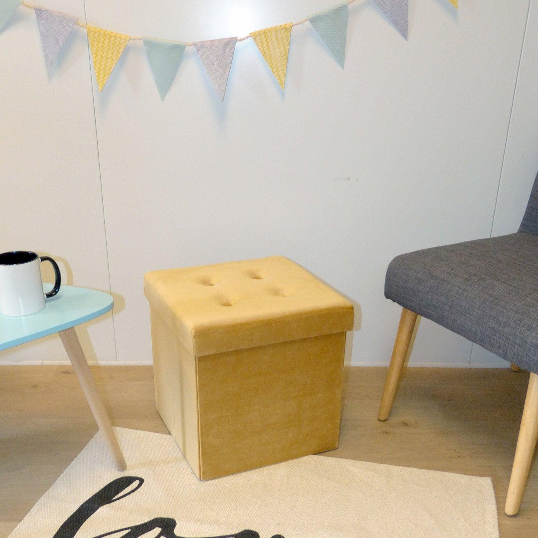 pouf jaune moutarde x cm leroy merlin. Black Bedroom Furniture Sets. Home Design Ideas