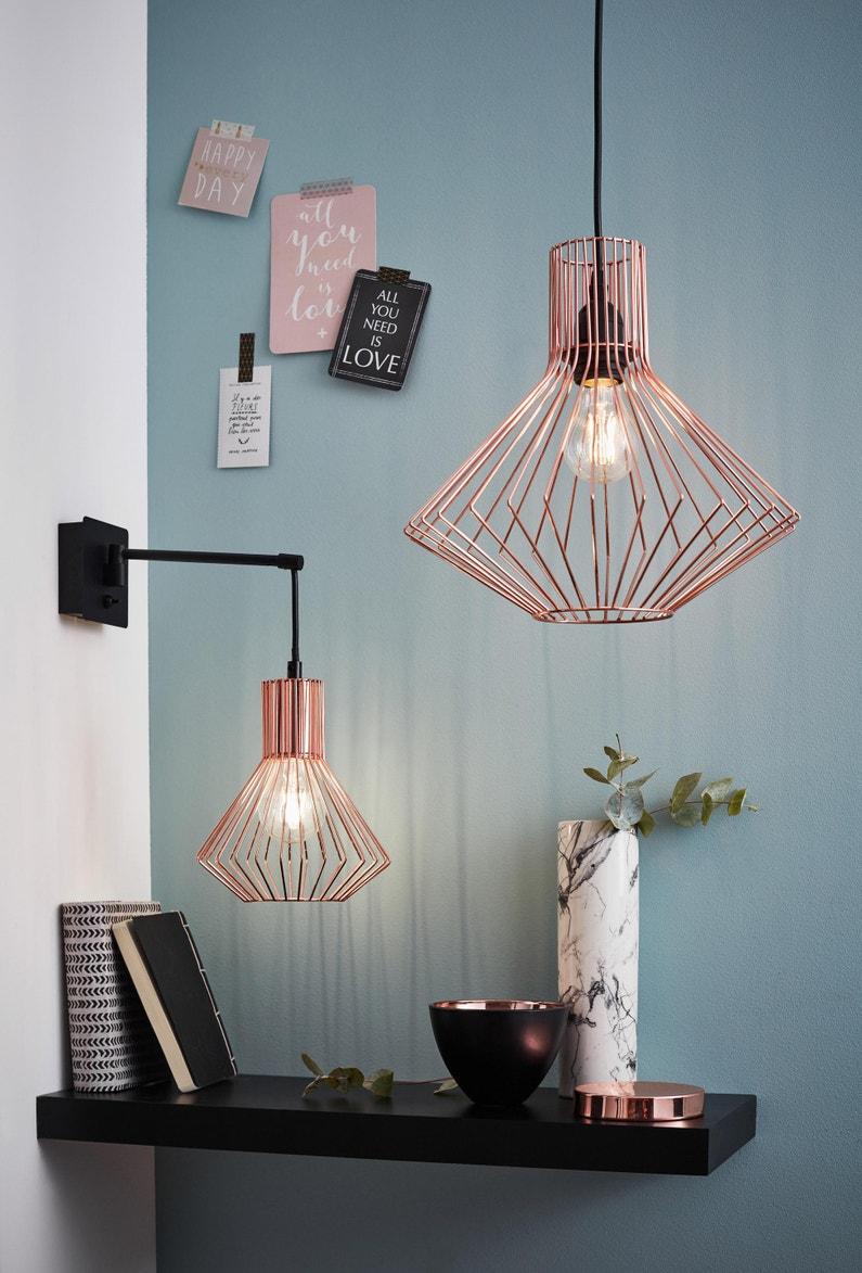 suspension e27 design dalma m tal cuivre 1 x 60 w brilliant leroy merlin. Black Bedroom Furniture Sets. Home Design Ideas