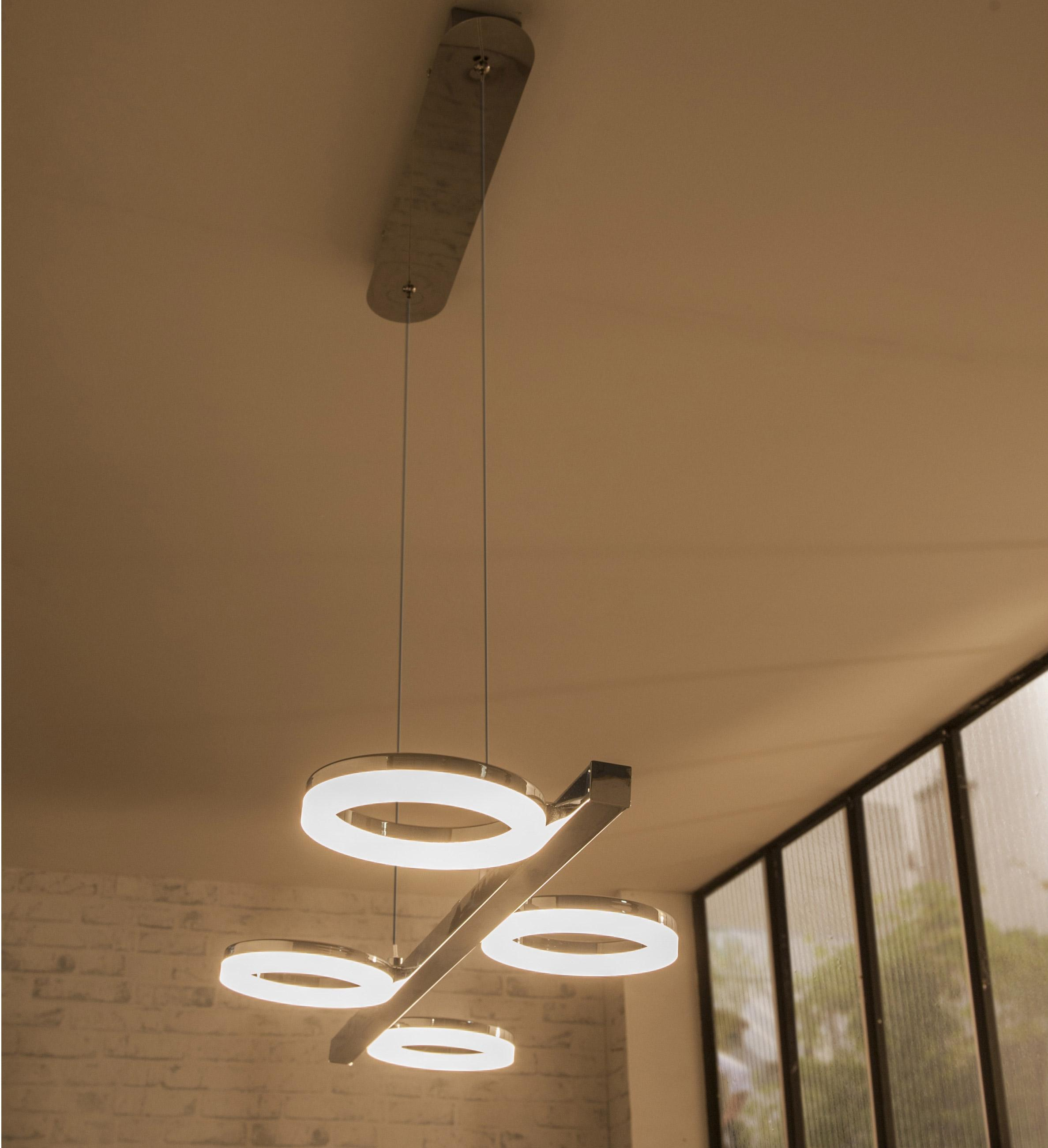 Suspension, design fer chrome led intégrée INSPIRE Iring D.73.5 cm