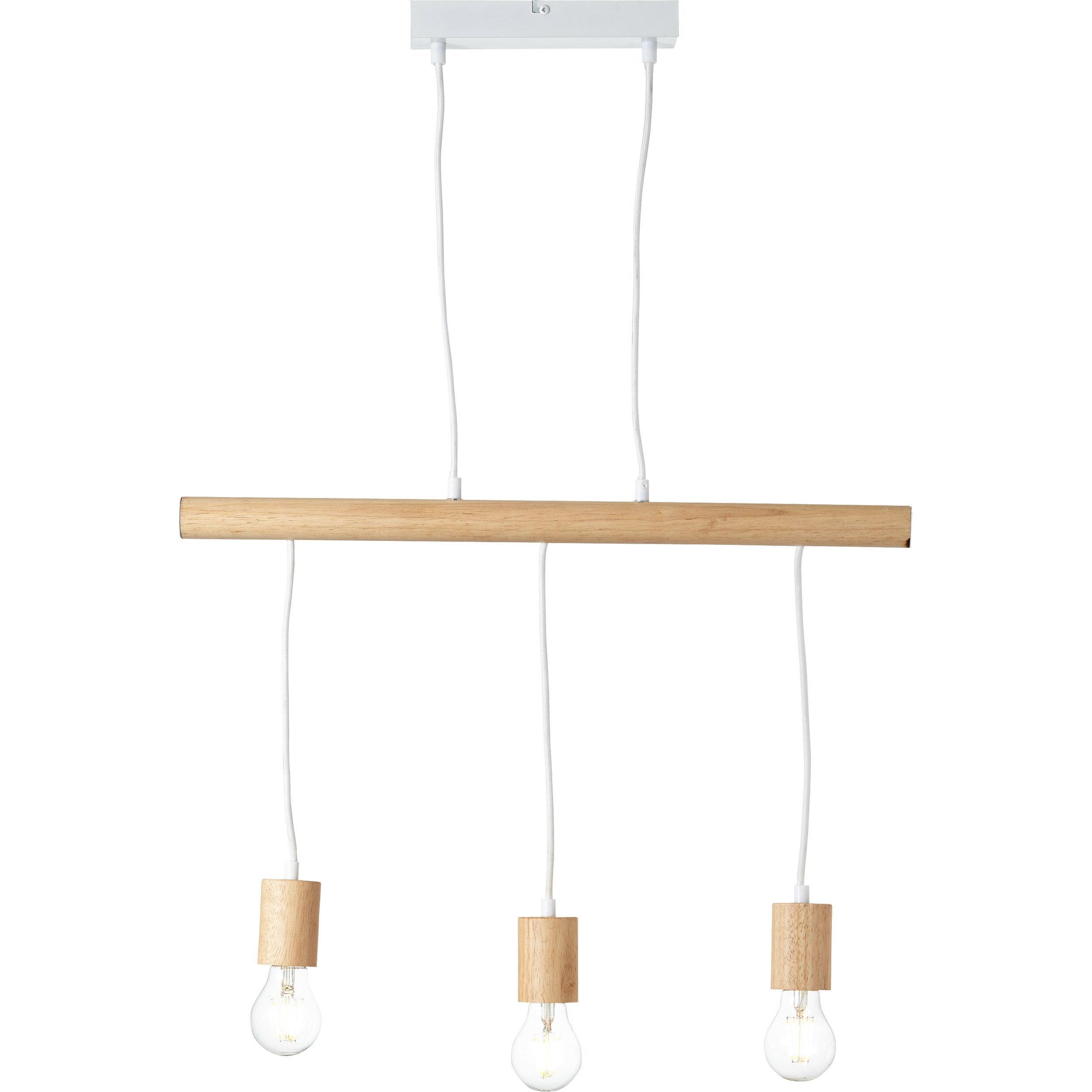 Suspension, design métal blanc et bois BRILLIANT BO LIGHT 3 lumière(s)