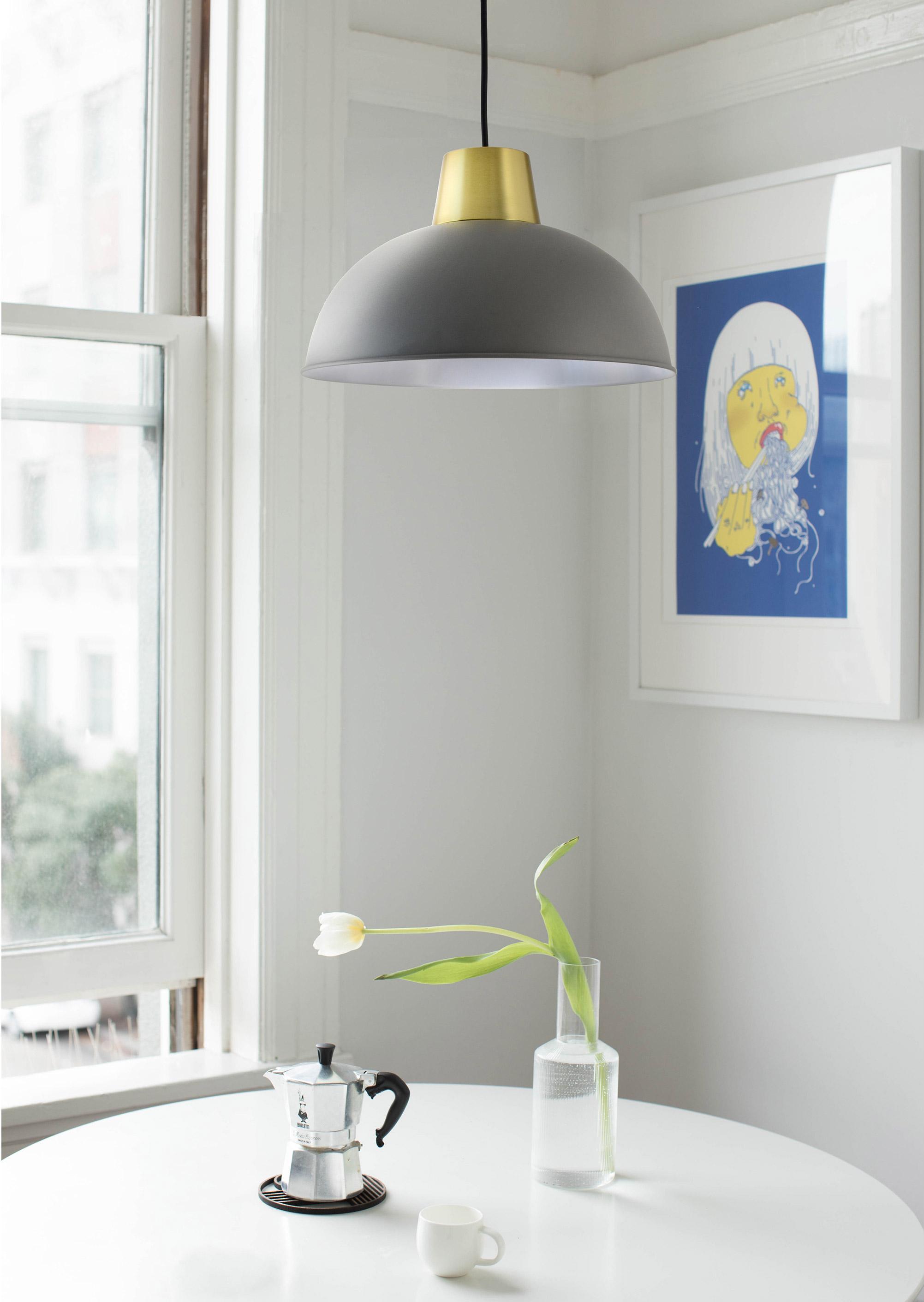 Suspension métal gris/laiton BOUDET Marsdor 1 lumière(s) D.31 cm