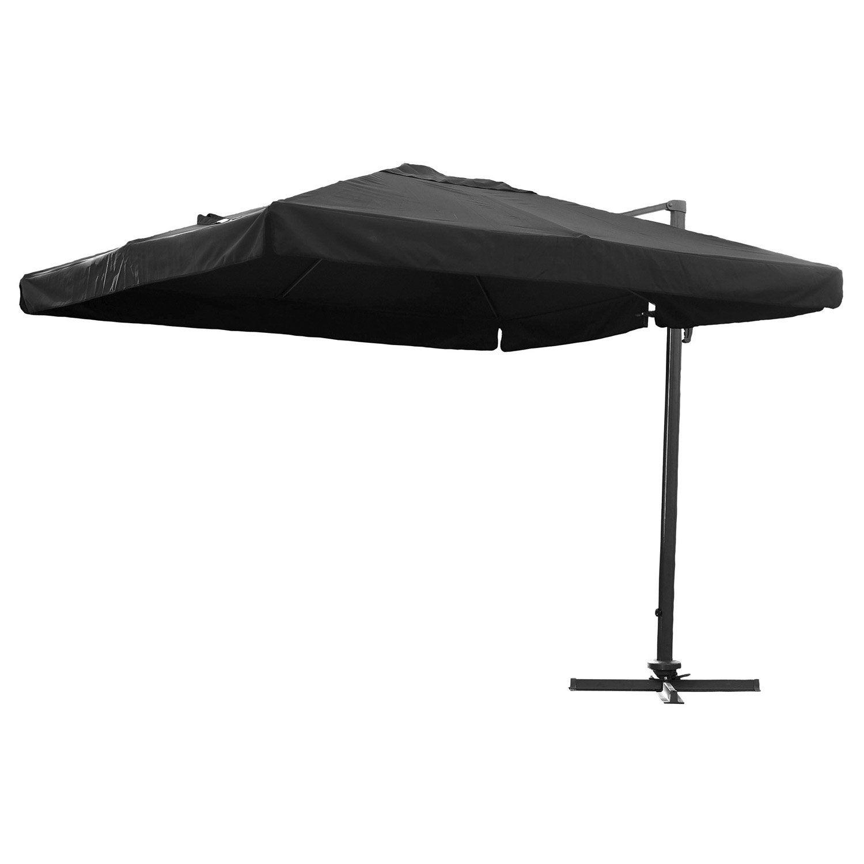 Parasol déporté Almeria noir carré, L.300 x l.300 cm   Leroy Merlin