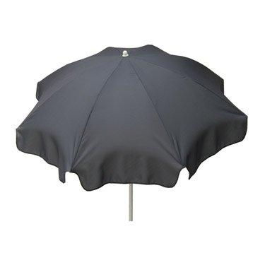 Parasol droit Lola gris zingué rond, L.240 x l.240 cm
