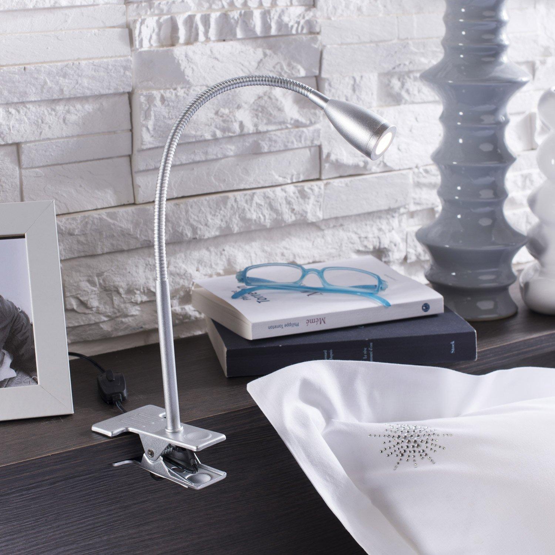 lampe de bureau led int gr e pince gris argent led. Black Bedroom Furniture Sets. Home Design Ideas