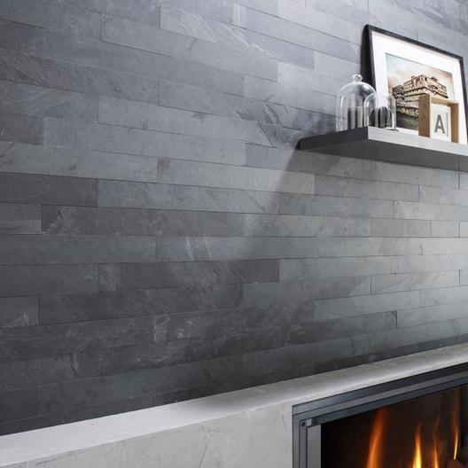 plaquette de parement pierre naturelle anthracite ardoise du br sil leroy merlin. Black Bedroom Furniture Sets. Home Design Ideas