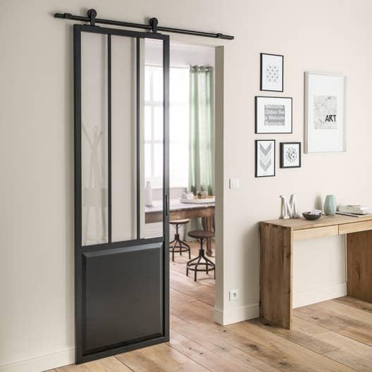 ensemble porte coulissante atelier aluminium verre clair mdf rev tu aluminium av leroy merlin. Black Bedroom Furniture Sets. Home Design Ideas