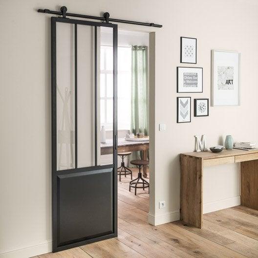 Ensemble porte coulissante atelier aluminium verre clair - Porte coulissante entrepot du bricolage ...
