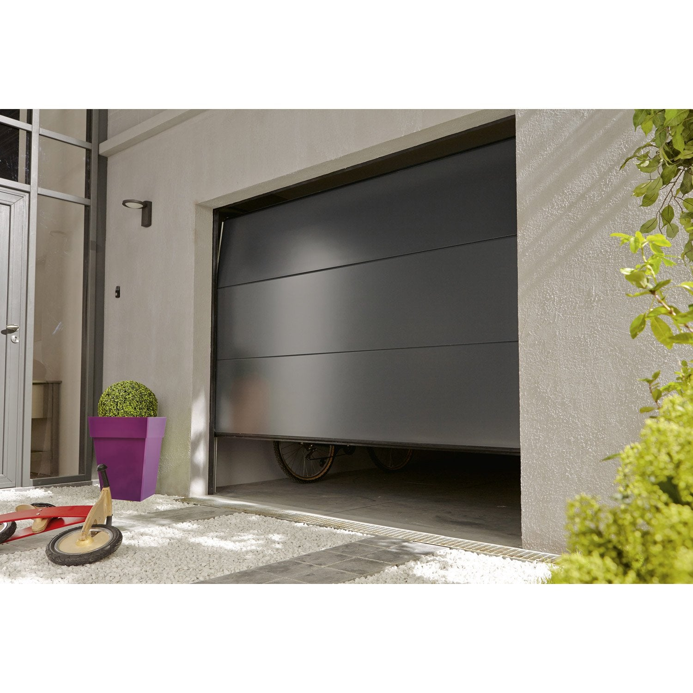 Porte De Garage Sectionnelle Motorisée ARTENS Essentiel H X L - Porte de garage sectionnelle avec porte de service pvc sur mesure leroy merlin