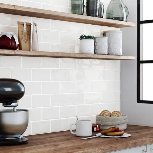 Fa ence mur blanc bakerstreet l 7 5 x cm leroy merlin for Faience mur cuisine