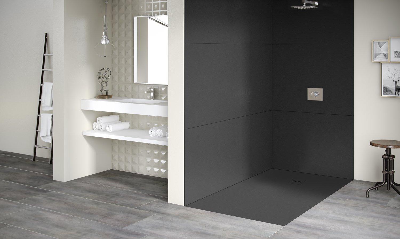 une salle de bains design avec un receveur de douche extra plat noir leroy merlin. Black Bedroom Furniture Sets. Home Design Ideas