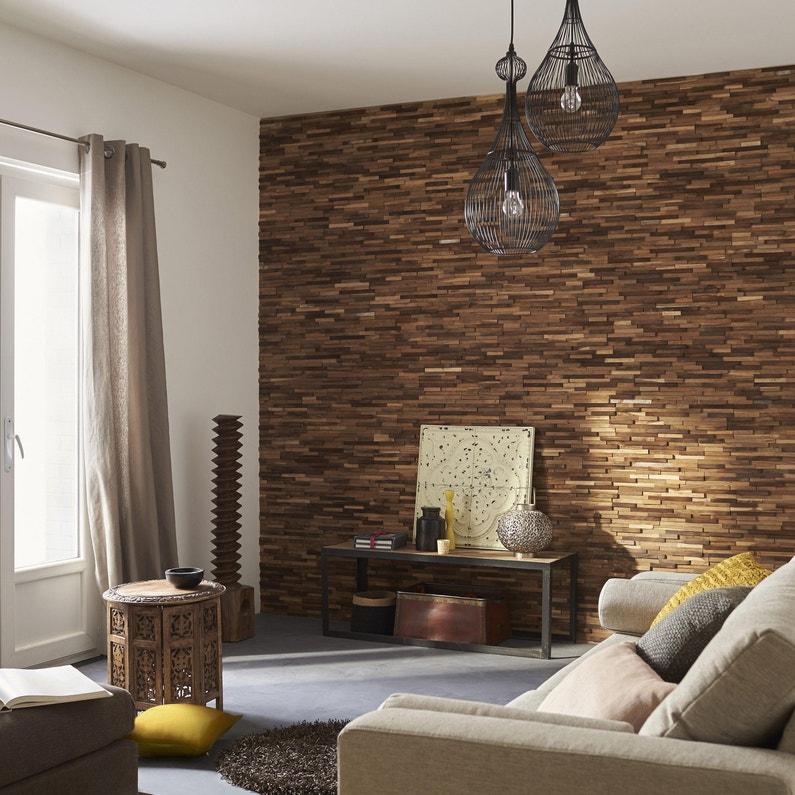 Plaquette de parement bois recyclé marron Boho | Leroy Merlin