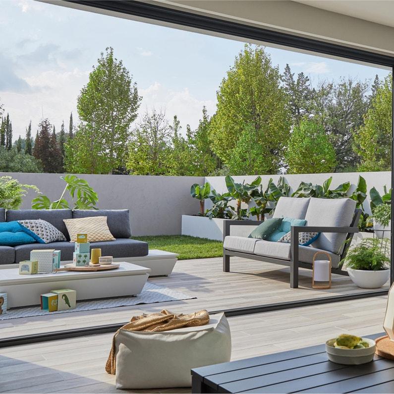 Salon bas de jardin Keros aluminium noir, 4 personnes